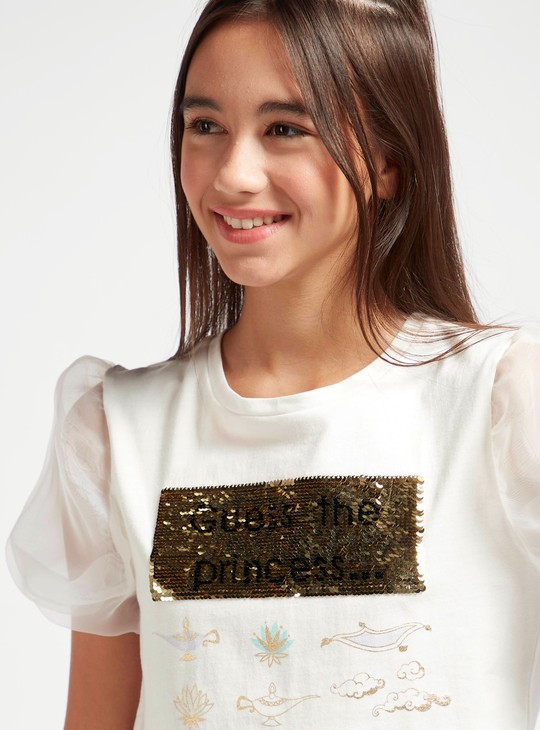 Jasmine Sequin Detail T-shirt with Round Neck and Short Sleeves