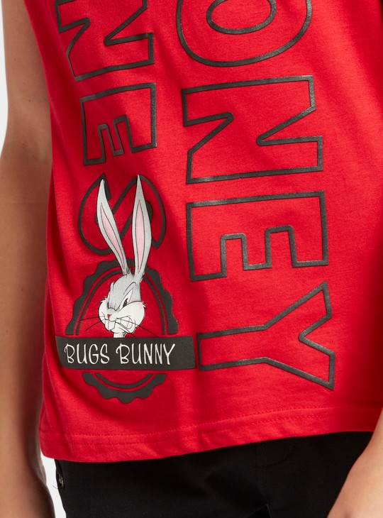 Looney Tunes Graphic Print T-shirt with Short Sleeves and Round Neck