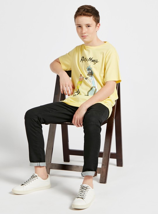 Rick and Morty Graphic Print T-shirt with Crew Neck and Short Sleeves