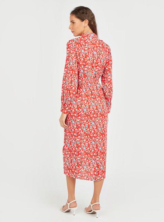 فستان متوسط الطول بأكمام طويلة طبعات أزهار
