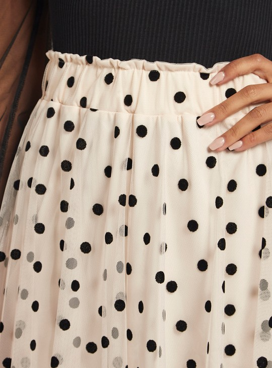 Polka Dots Print A-line Midi Skirt with Elasticised Waistband