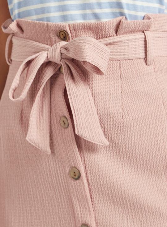 Textured Mini Skirt with Paperbag Waist