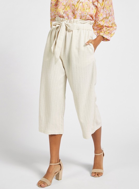 Dobby Striped Regular Fit Culottes with Paper Bag Waist