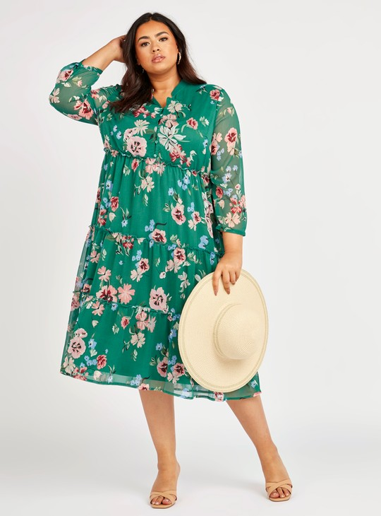 Printed Midi A-line Dress with 3/4 Sleeves