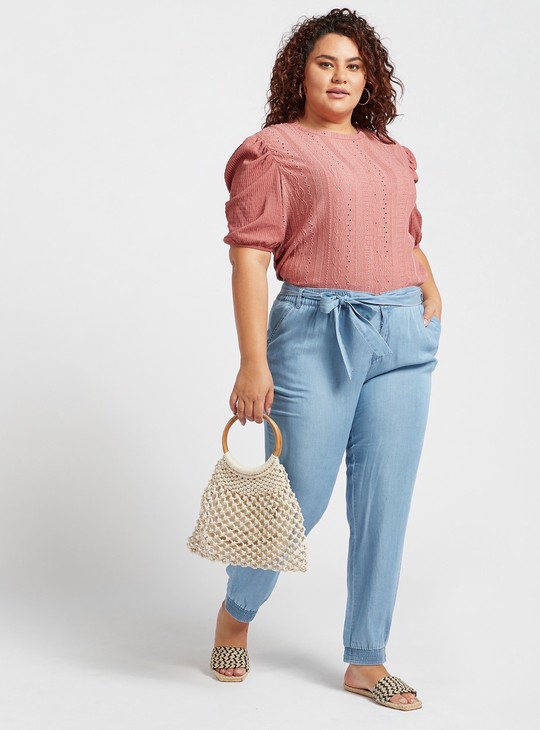 Skinny Fit Solid High-Rise Denim Pants with Tie-Ups and Pocket Detail