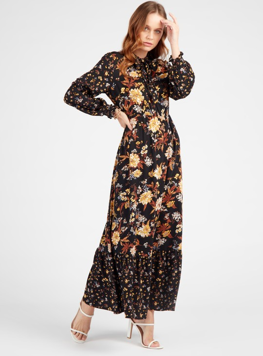 Floral Print Maxi A-line Dress with Long Sleeves and Bow Tie