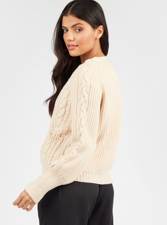 Textured Cardigan with Button Front Closure and Pockets