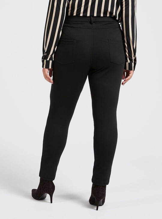 Full Length Solid Leggings with Pockets and Elasticised Waistband