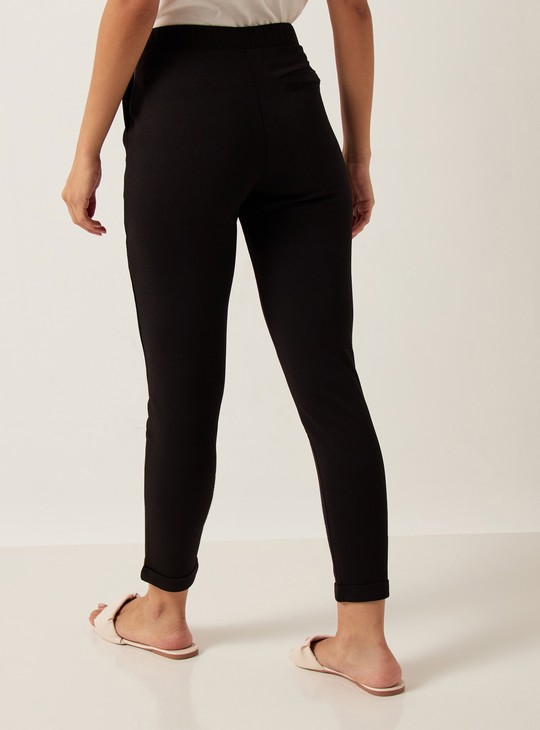 Solid Mid-Rise Crepe Pants with Button Closure