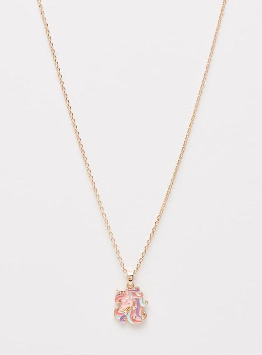 طقم مجوهرات بزينة يونيكورن مطليّ بالمينا- 4 قطع