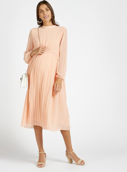 Solid High Neck Pleated Maternity A-line Dress with Long Sleeves