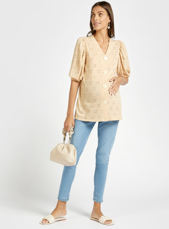 Embroidered V-neck Top with Puff Sleeves and Button Up Closure