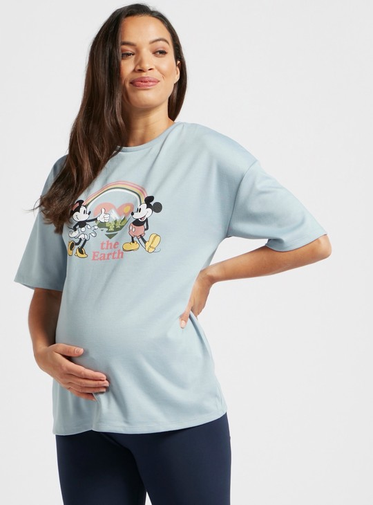 Mickey Mouse Graphic Print T-shirt with Crew Neck and Short Sleeves