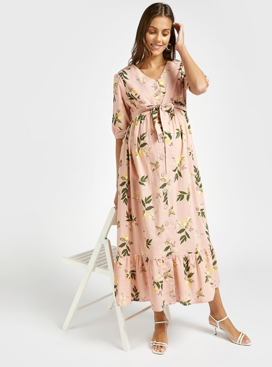 Floral Print Maternity Midi Tiered Dress with Tie Up Belt