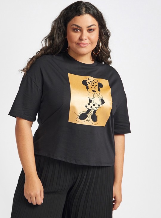 Minnie Mouse Print T-shirt with Drop Shoulder Short Sleeves