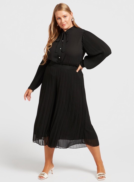 Solid Pleated Culottes with Paperbag Waist