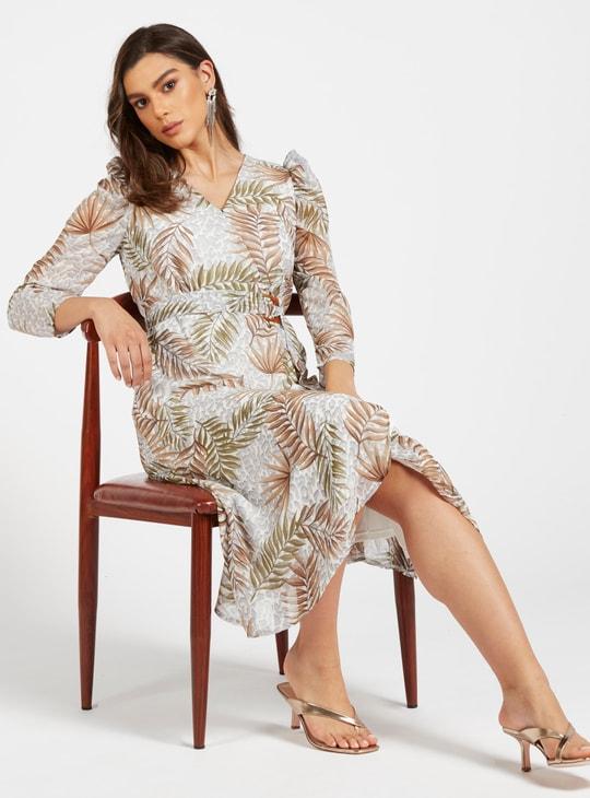 فستان ميدي ملفوف بطبعات وأكمام طويلة وحزام