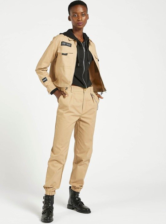 Solid Zip-Through Boxy Jacket with Channel Hem and Collar
