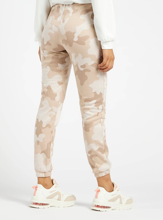 Camo Print Ankle Length Joggers with Elasticated Drawstring Waist