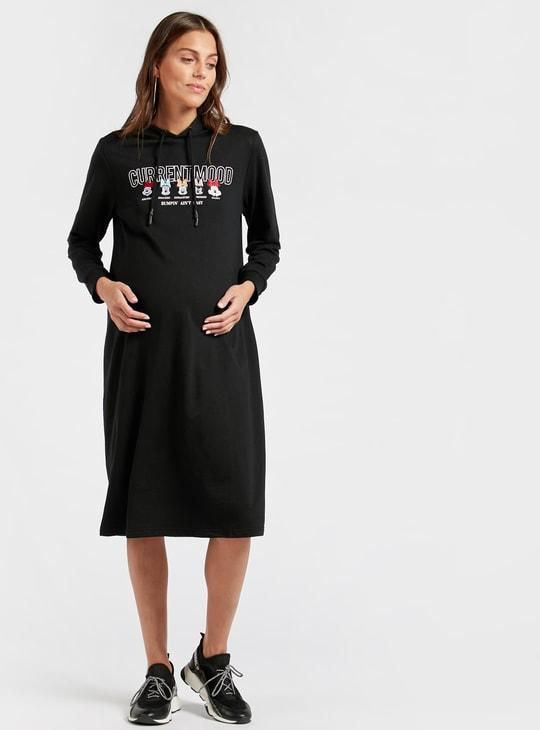 فستان للحوامل بأكمام طويلة وتطريزات ميني ماوس