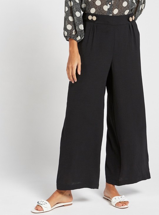 Solid Ankle Length Pants with Semi-Elasticated Waist and Button Detail