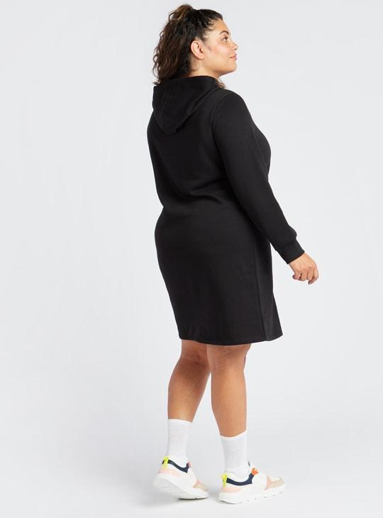 فستان واسع قصير سادة بأكمام طويلة وقبعة