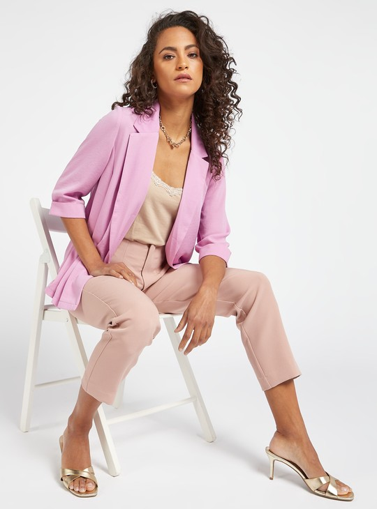 Solid Blazer with 3/4 Sleeves and Notched Lapel