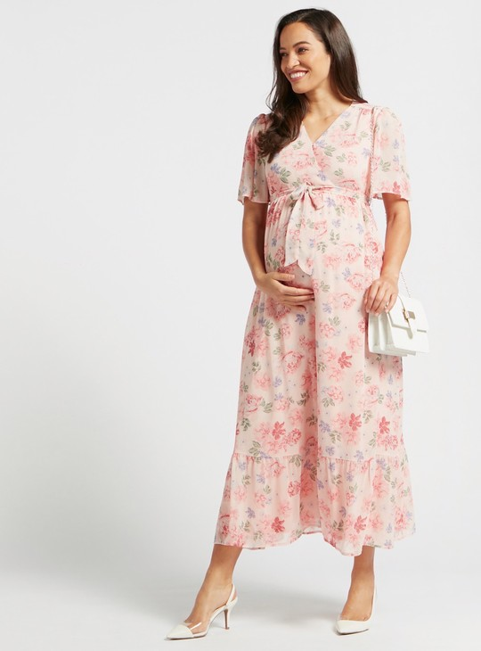 Maternity Floral Print A-line Maxi Wrap Dress with Tie-Ups