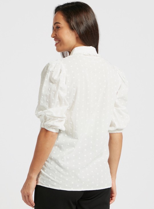 Textured Maternity Shirt with Spread Collar and Short Sleeves