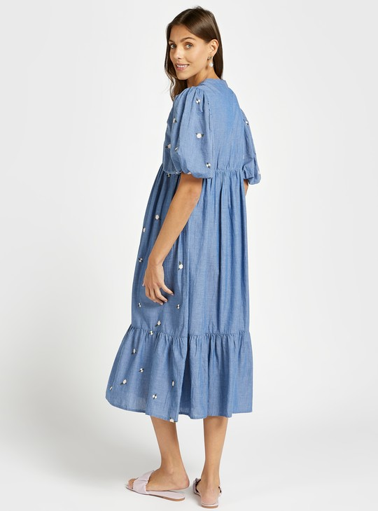 Embroidered Round Neck Tiered Maternity Dress with Short Sleeves