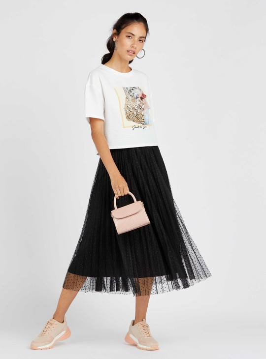 Polka Dotted Tulle Midi A-line Skirt with Elasticated Waist and Pleats