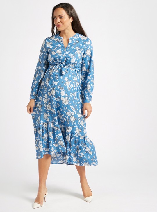 Floral Print A-line Midi Maternity Dress with Long Sleeves
