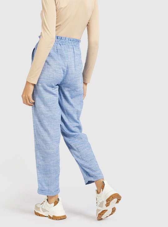 Textured Pants with Paperbag Waist and Pocket Detail