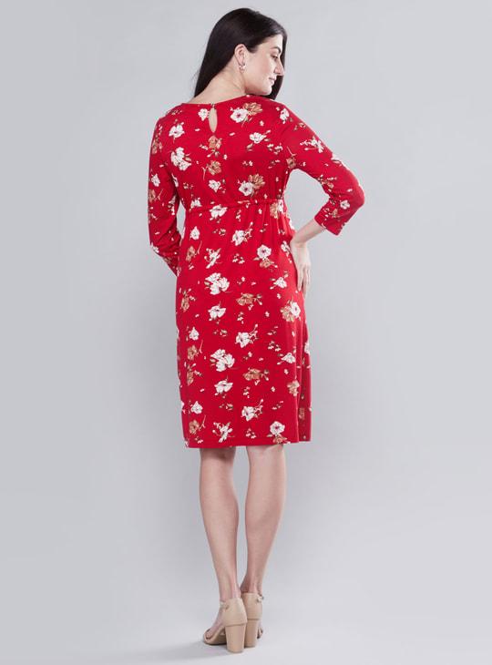 فستان حوامل إيه لاين متوسط الطول بأكمام طويلة وأربطة وطبعات أزهار