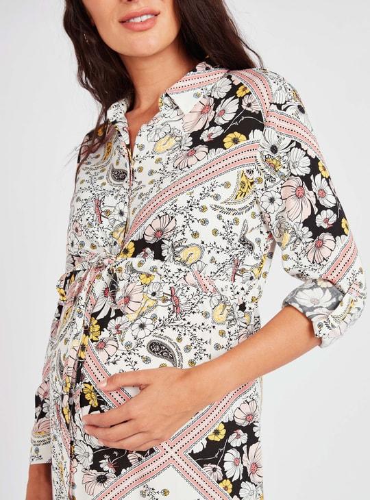 فستان قميص للحوامل ميدي ايه لاين رسمي بطبعات واكمام طويلة