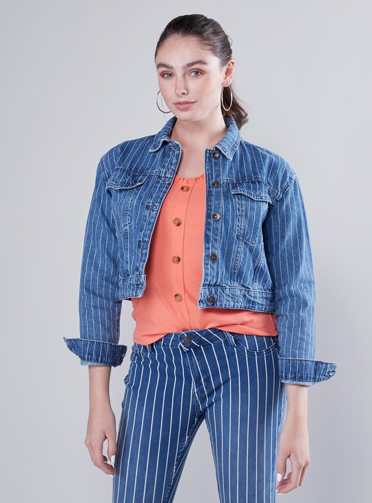 Striped Denim Jacket with Pocket Detail and Long Sleeves