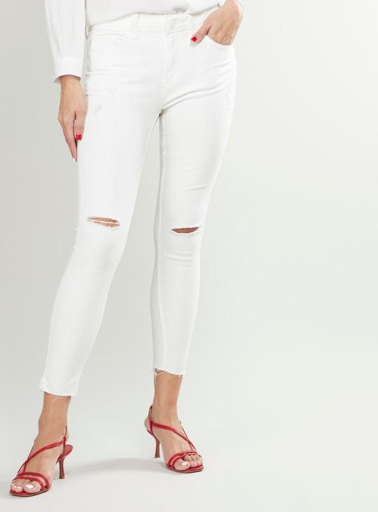 بنطلون جينز مضلع سكيني قصير بخصر متوسط الارتفاع