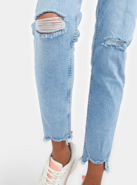 بنطلون جينز سكيني قصير بخصر متوسط الارتفاع مع حافة مطوية