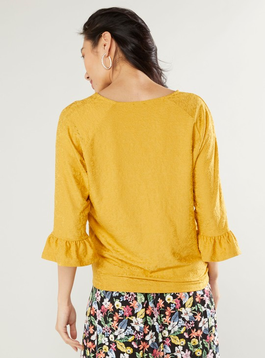 Textured V-neck Top with 3/4 Sleeves and Tie Ups