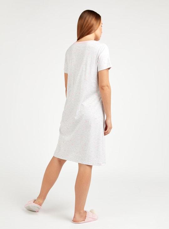 Maternity Print Sleep Dress with Short Sleeves