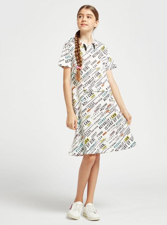 فستان بأكمام قصيرة وطبعات ميني وقبعة