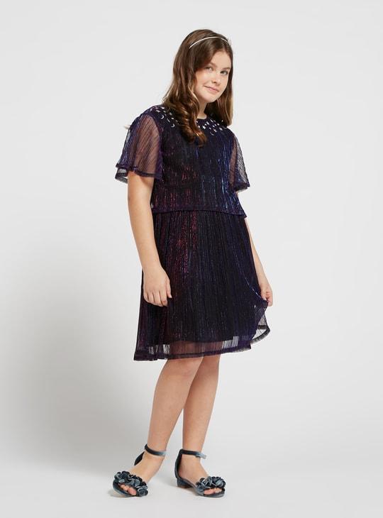 Embellished Round Neck Dress with Short Sleeves and Keyhole Closure