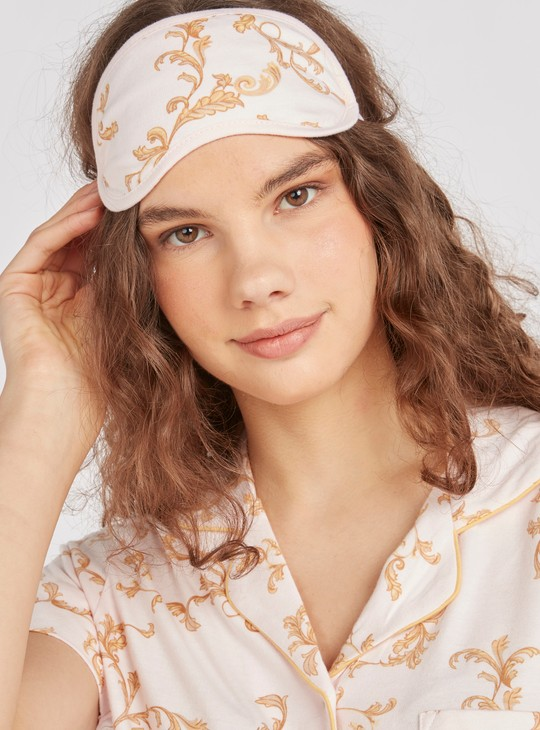 Floral Print 3-Piece Sleepwear Set with Reversible Eye Mask