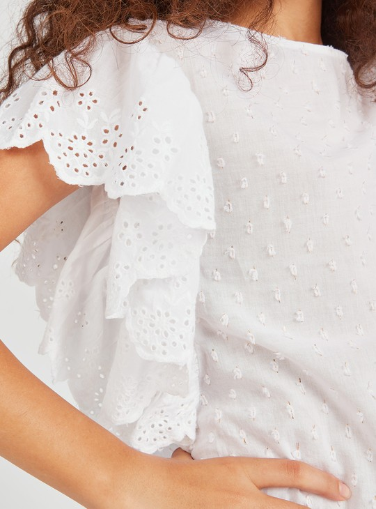 Textured Schiffli Detail Top with Short Sleeves