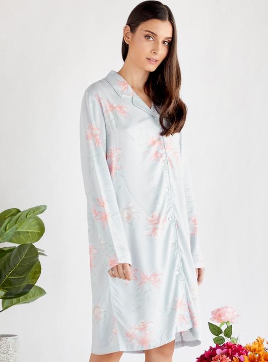 قميص نوم بياقة عادية وأكمام طويلة وطبعات زهرية