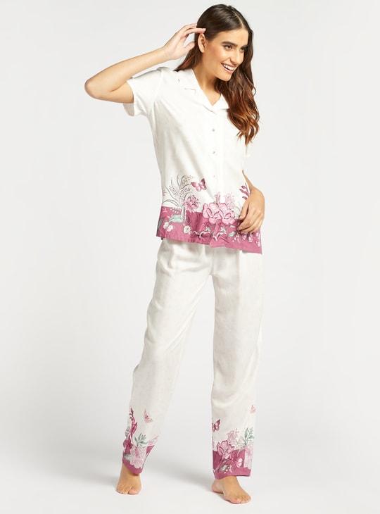 طقم بنطلون بيجاما وقميص نوم بأكمام قصيرة وطبعات زهرية