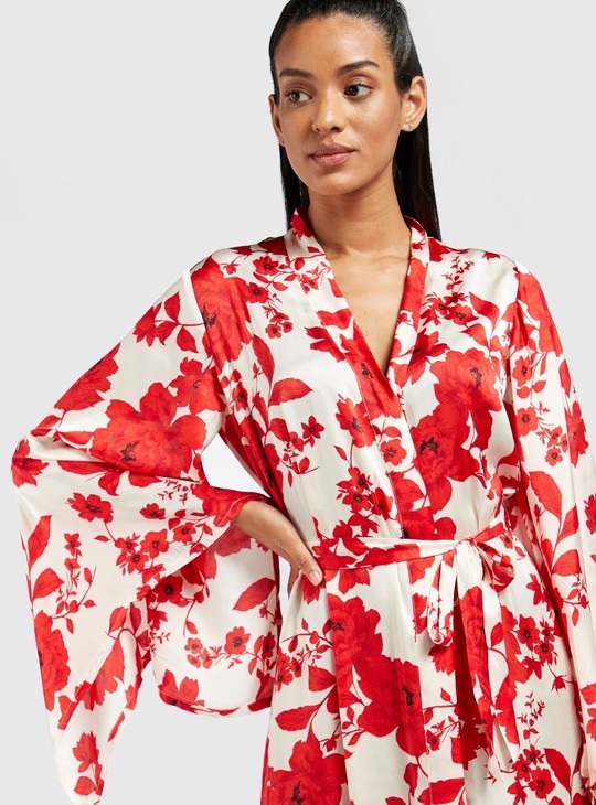 All-Over Floral Print Robe with Long Sleeves and Tie-Ups