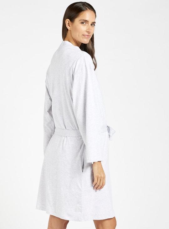 طقم فستان نوم للحوامل بطبعات مع روب بأكمام طويلة