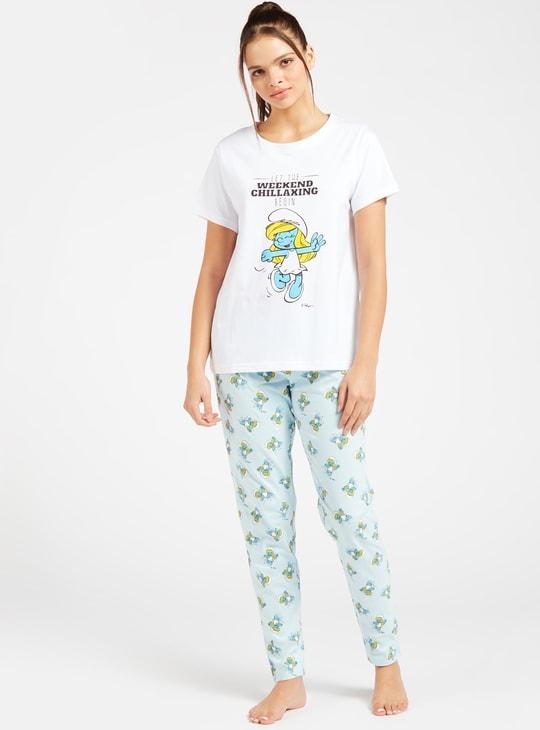 Smurf Print Short Sleeves T-shirt and Full-Length Pyjama Set