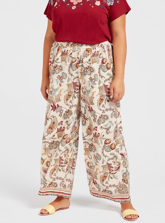 All-Over Print Palazzo Pants with Elasticised Waistband